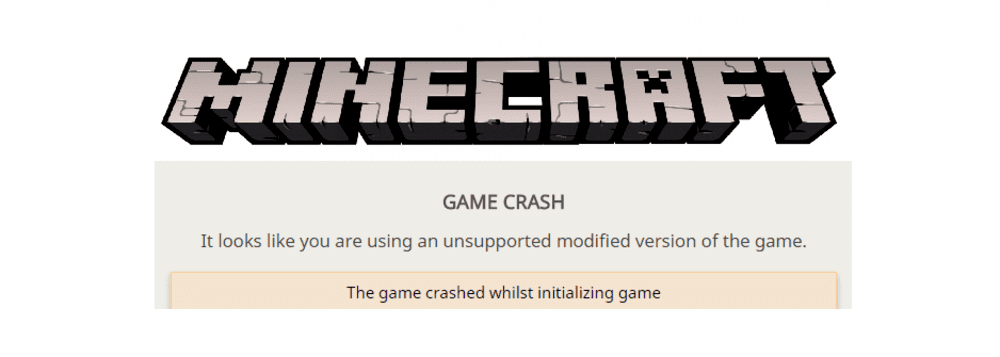 it looks like you are using an unsupported modified version of the game minecraft