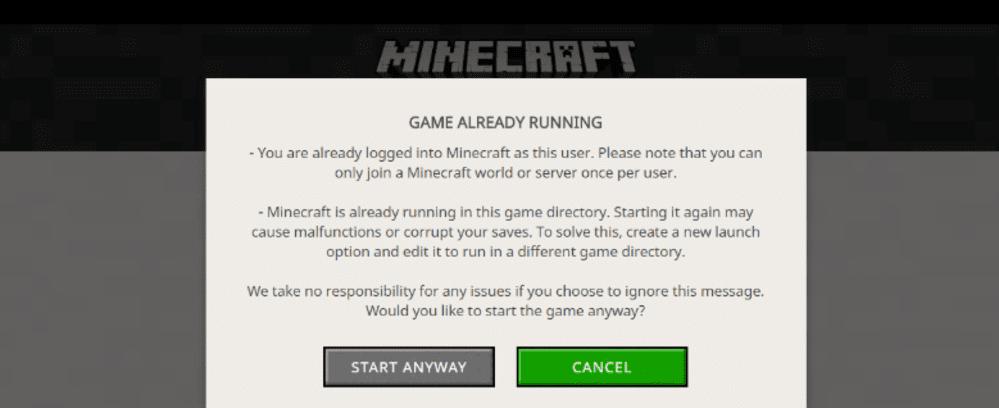 minecraft game already running