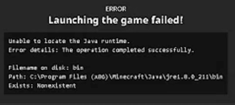 minecraft unable to locate the java runtime