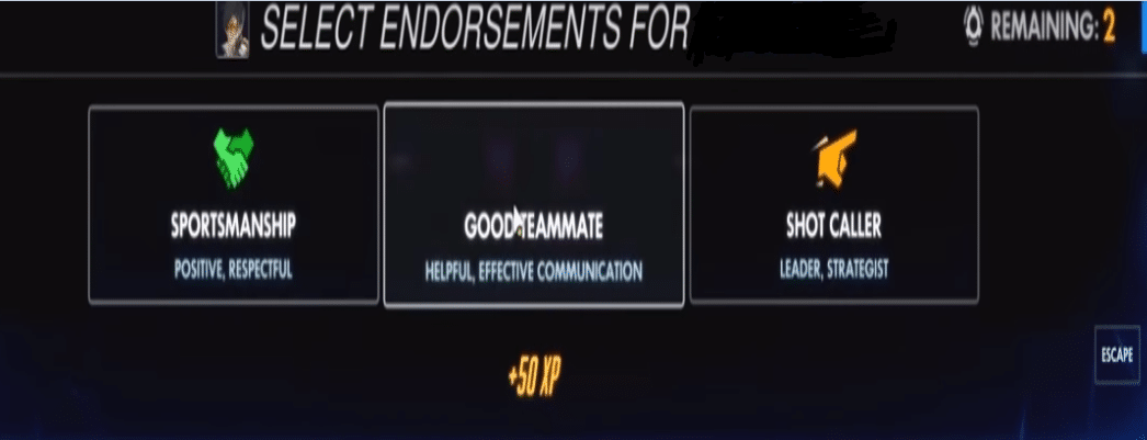 overwatch endorsement system