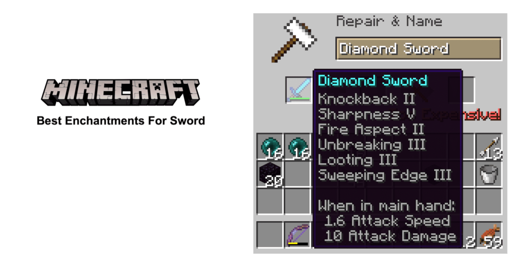 best enchantments for sword minecraft