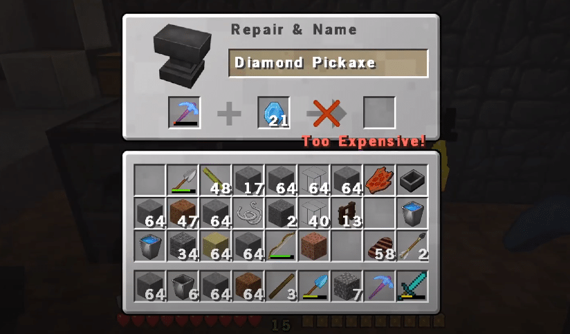 minecraft anvil too expensive