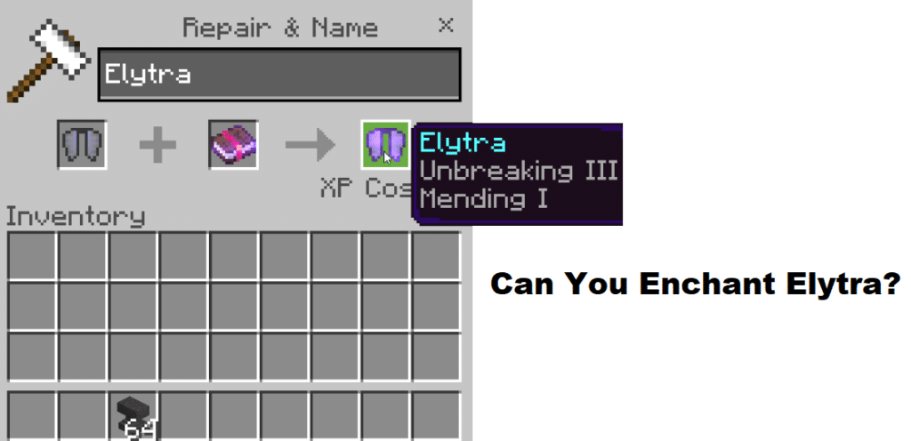 minecraft can you enchant elytra