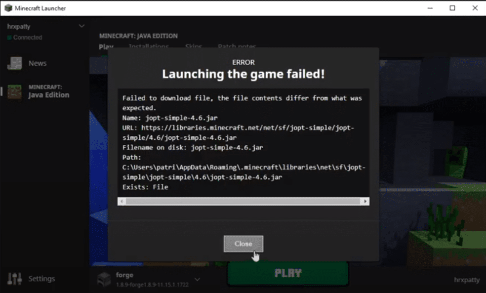 minecraft failed to download file