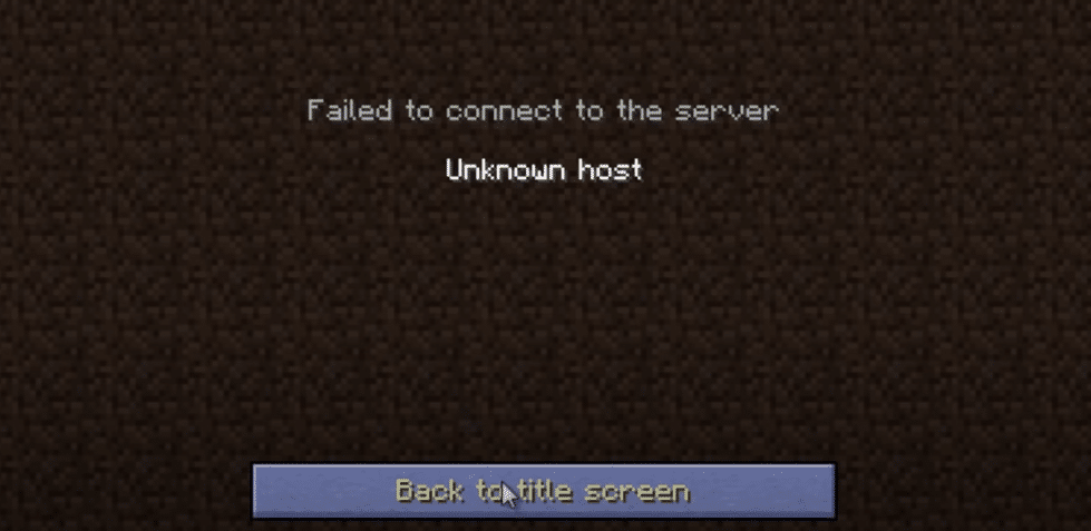 minecraft unknown host