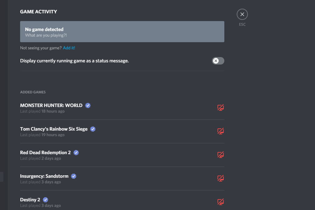 how to make discord not show games