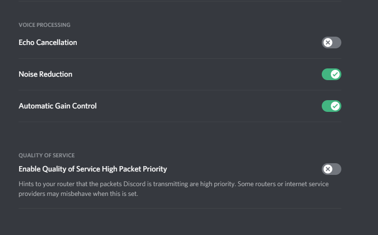 discord echo cancellation not working
