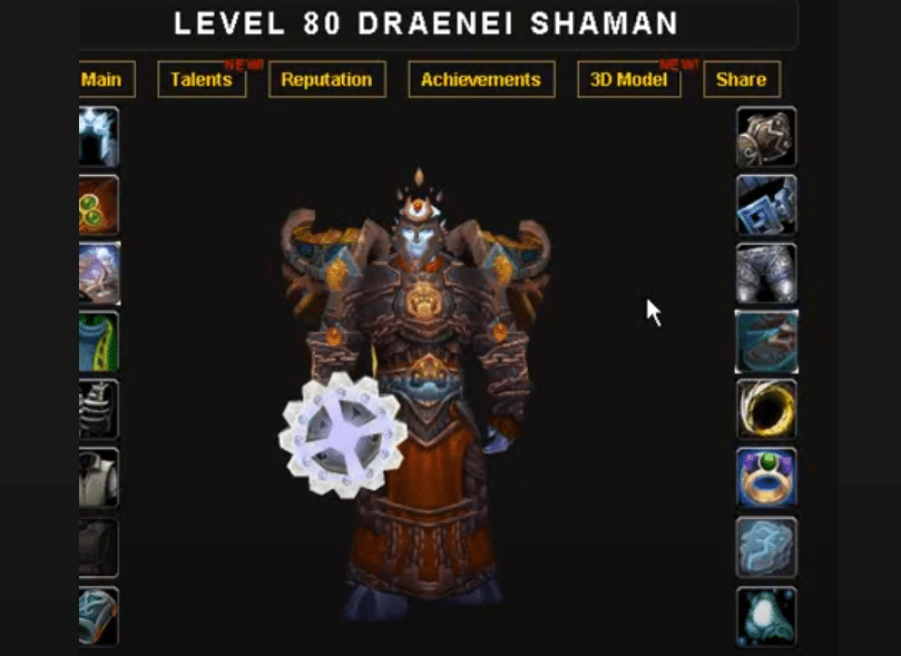 wow armory not showing my character