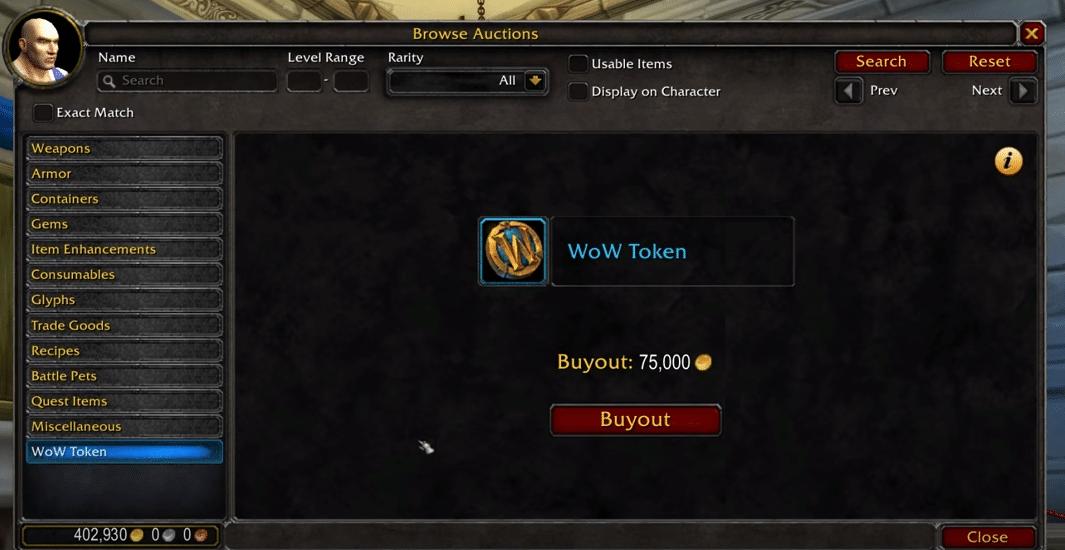 wow token not in shop