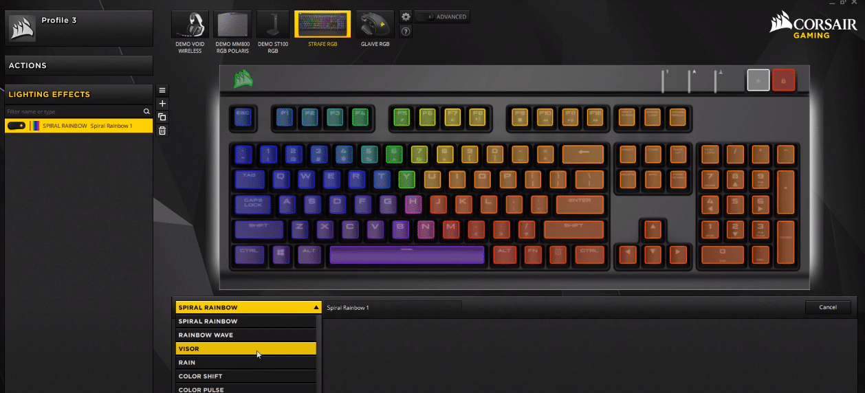 corsair strafe static color not working