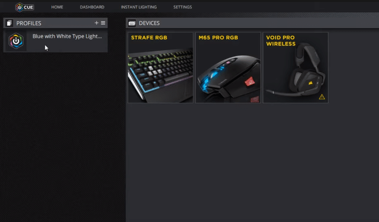 corsair utility engine can't click profile